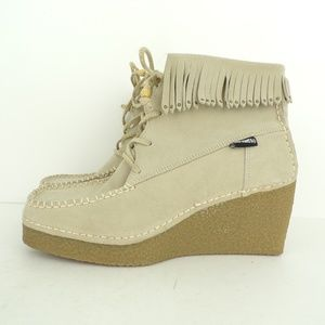 CANDIES Tan Leather Fringe Studded Wedge Boots 8M